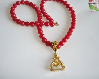 Red Jade  Beads Pendant Necklace