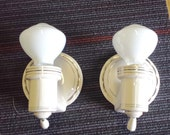 Art Deco Porcelain Sconces, Vintage Bathroom Sconce Pair