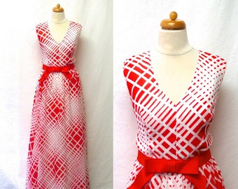 1960s / 70s Vintage Voile Dress with Bow / Red & White Geometric Op Art Maxi Dress
