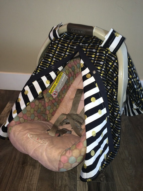 Carseat Canopy / Black and gold arrow  / car seat canopy / car seat cover / nursing cover / carseat canopy / carseat cover
