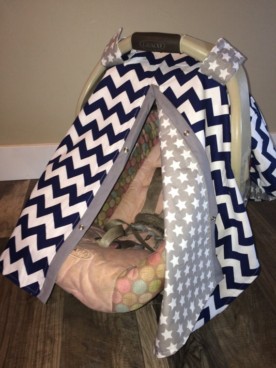 Baby carseat canopy Navy and Gray stars  / Car seat cover / car seat canopy / carseat cover / carseat canopy / nursing cover