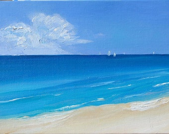 White Sand, 6 x 8 inch (15 x 20 cm) oil painting on canvas board. Yvonne Wagner. Meer. Mer. Shore. Sand. Sail boats. Am Strand. SFA.