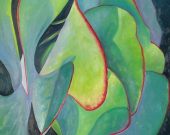 FLAPJACK 3, an original oil painting 36 x 36 x 1.5 inch ( 92 x 92 cm.) on canvas by Yvonne Wagner  Kalanchoe. Succulent. Deep edge. Plant.
