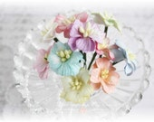 Mulberry Flowers~Pastel Apple Blossoms~ Set of 10 for Scrapbooking, Cardmaking, Altered Art, Wedding, Mini Album