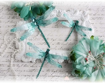 Dragonfly Embellishments Sparkling Teal for Scrapbooking, Cardmaking, Tag Art, Mixed Media, Wedding