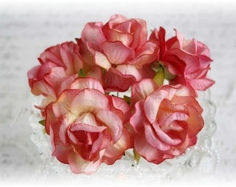 Shabby Chic Large Mulberry Roses Sorbet Set of 5 for Scrapbooking, Cardmaking, Altered Art, Wedding, Mini Album