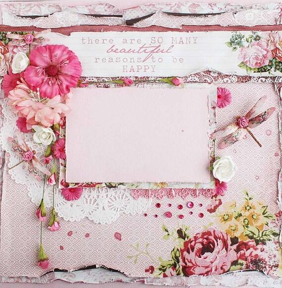 Premade 12 X12 Shabby Chic Scrapbook Layout By LittleScrapShop