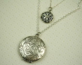 Two Chain Lockets Layered Necklace, Multiple Lockets, Two Pendants, Multi Strand Silver Necklaces, Double Chain Silver Lockets Two