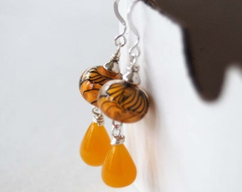 Yellow Earrings, Lampwork Glass Earrings, Teardrop Earrings, Wire Wrapped Earrings, Beaded Earrings