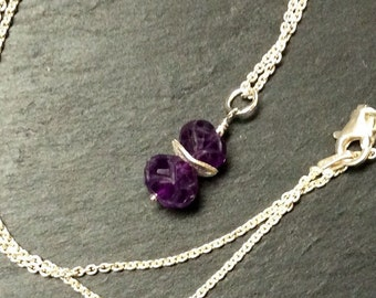 Sterling Silver and Amethyst Charm Necklace,16 inches. Carved Amethyst Gemstones