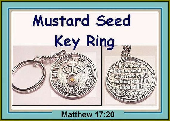 Man Boy Religious Jewelry Mustard Seed Silver Pewter Coin Key Chain Christian Jewelry Girl, Teen Bible Scripture