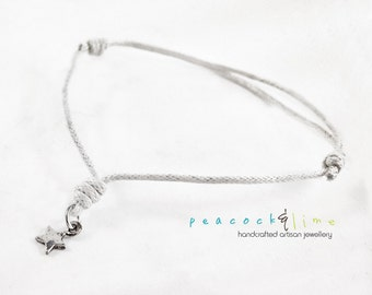 Star Wish bracelet // white waxed cotton  // sterling silver charm wish friendship bracelet // handmade // ready to ship