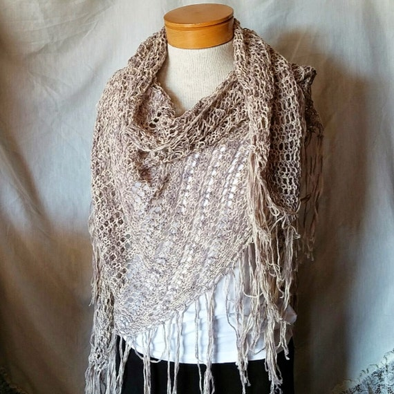 Spring knit shawl Bohemian knit wrap Slate blue Off white linen cotton blend Long fringed triangle  Spring Neutral knits Summer boho shawl