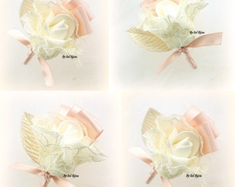 Boutonnieres, Blush, Ivory, Button Hole, Corsages, Groom, Groomsmen, Vintage Wedding, Elegant, Mother of the Bride, Lace, Satin, Simple