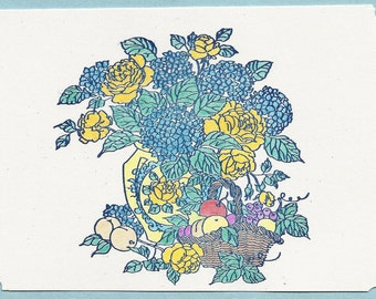 Hydrangeas and Roses Note Card