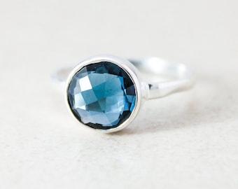 London Blue Topaz Quartz Ring - Gold or Silver - Stacking Ring, December Birthstone