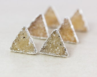 Natural Triangular Druzy Studs - Choose Your Druzy - 925 Sterling Silver