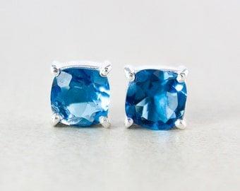 London Blue Quartz Studs - Cushion - Silver Filled