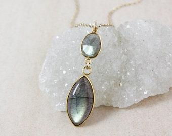 Leaf Labradorite Necklace – Choose Your Labradorite Pendant