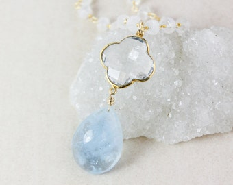 Aquamarine Teardrop Necklace – Crystal Quartz Clover – Rainbow Moonstone Chain