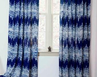 blue window curtain curtains indigo blue block print cotton bedroom window treatment