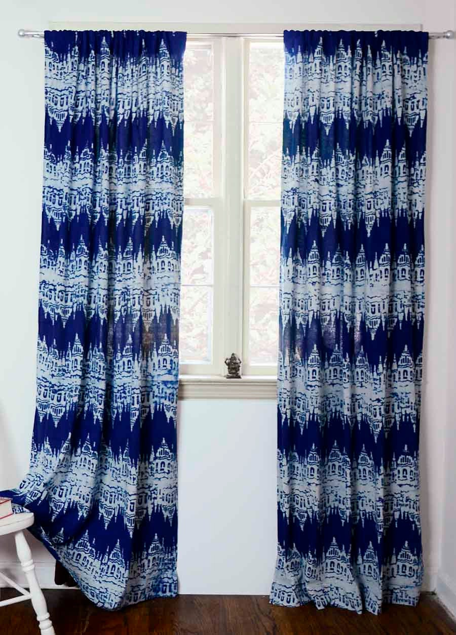 Blue Window Curtain Curtains Indigo Blue Block Print