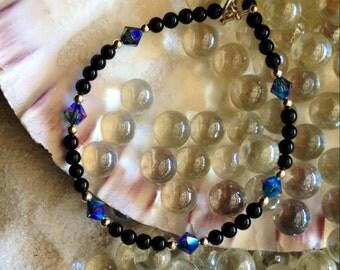 Black onxy bracelet with swarovski and sterling silver highlights