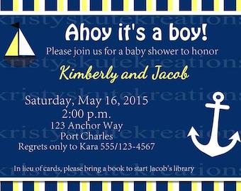 DIGITAL-Ahoy it's a boy Baby Shower invite