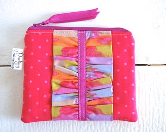 Handmade Small Zip Pouch with Ruffle - Hot Pink and Fushia Polka Dot with Multi Colored Ruffle