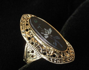 Black Art Glass Ring with White Rose, Size 6