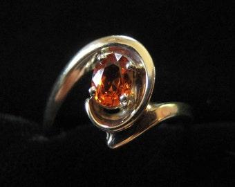 14k Orange Garnet Ring, Size 7.5