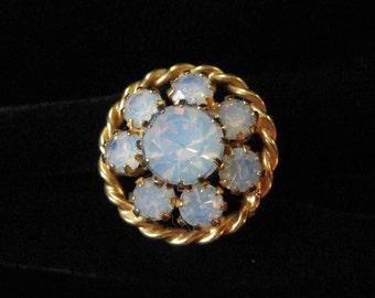 White Opal Rhinestone Costume Ring, Adjustable