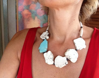 White Turquoise Large Slab Chunky Multicolor Statement Necklace