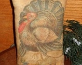 Primitive Turkey Printed Pillow tuck