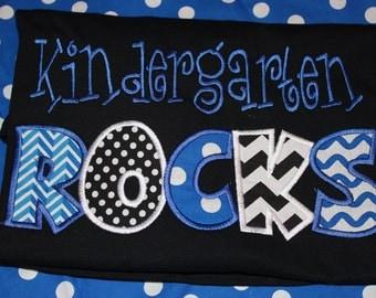 Kindergarten Rocks teacher shirt- can change any wording- child or adult