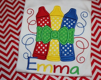 Back to School Crayons with bow tshirt or ruffle dress monogrammed with name- any colors you like