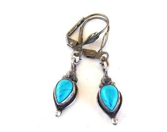 Navajo Turquoise Earrings Sterling Silver Native American Drop earrings