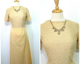 50s dress beige lace dress LILLIAN'S California Vintage 1950s lace dress Pin up party dress XS/S