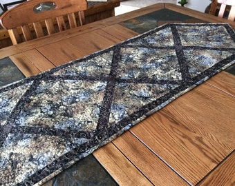 Black Marbled Table Runner