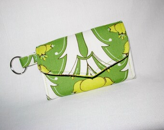 Card Case Key Ring Tri Fold Amy Butler Fabric Green Yellow White