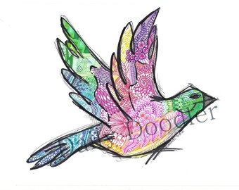 Bird Zentangle Color -  Original Art Print -  8x10 VIBRANT Color - Sharpie Art