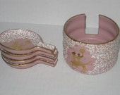 Vintage Pink and Gold with White Lacey Mid Century Ashtrays- Made in Italy - MARI