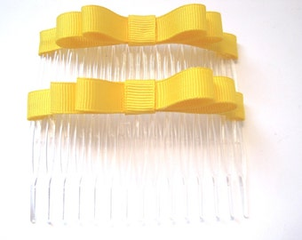 Yellow Double Ribbon Bow Hair Comb 3 Inch Set of 2