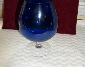 Cobalt Blue Glass Large  Brandy Snifter Goblet