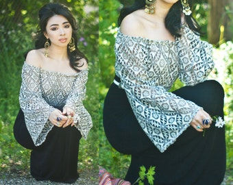 White Lace Peasant Style Sheer Crop Top with Bell Sleeves XS S M L XL