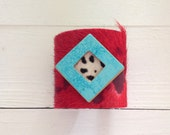 """hair on hide cuff bracelet - red and black hair on hide with magnesite  - 2.5"""" wide"""