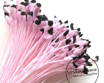 1 Bundle of 144 Double Sided 2-Tone Rose Flower Stamens - Pink & Black