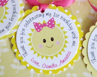 You Are My Sunshine Favor Tags -Set of 12