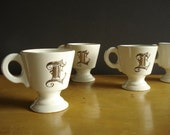 Toast to L - Vintage Monogrammed Cups - Silver and White or Cream Coffee Cups with Initial L