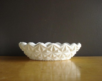 Large Vintage Cut Glass Milkglass Candy Dish - Vintage Milk Glass Candy Dish or Bowl